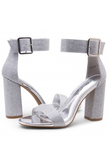 HerStyle Rumors-Chunky heel, ankle strap (1901SilverShimmer)