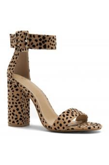 HerStyle Rumors-Chunky heel, ankle strap (Cheetah)
