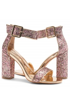 HerStyle Rumors-Chunky heel, ankle strap (Gold Glitter)