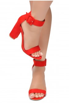 HerStyle Rumors-Glitter, Chunky heel, ankle strap (Red)
