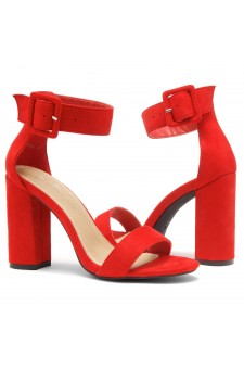 HerStyle Rumors-Chunky heel, ankle strap (Red)