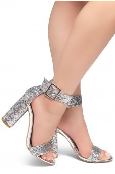 HerStyle Rumors-Chunky heel, ankle strap (Silver Glitter)