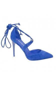 Women's Royal Blue Manmade Saelea Sexy Lace-up 4.5-inch Heel