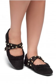 HerStyle Sakurra-Flat Mule with fur and studs detail (Black)