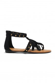 Women's Black Sammson Studded T-Strap Sandal with Soft Fringed Straps