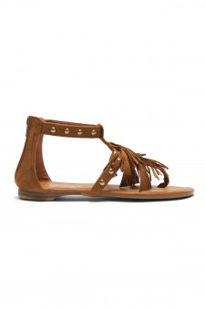 Women's Tan Sammson Studded T-Strap Sandal with Soft Fringed Straps