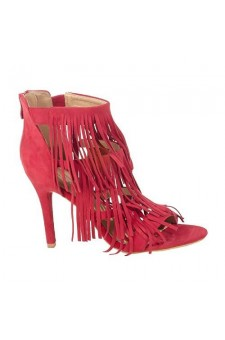 Women's Red Manmade Sandalia 4-inch Heeled Sandal with Frisky Fringed Vamp
