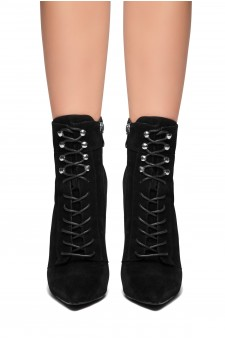 HerStyle SANTORINI-Pointed toe, stiletto heel, front lace-up booties (Black)