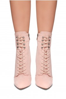 HerStyle SANTORINI-Pointed toe, stiletto heel, front lace-up booties (L.Pink)
