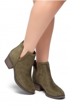 HerStyle Sassa-Stacked Heel Almond Toe Booties (Olive)