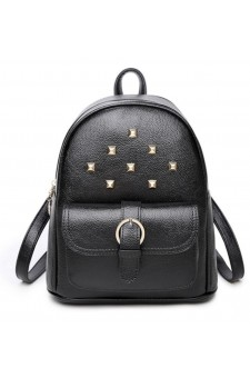 SE3-BP083- Women's Trendy Mini Studded Backpack Purse (Black)