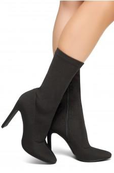 HerStyle Selene-Pointed toe, flat block heel, knit Lycra upper (Black)