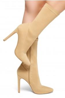 HerStyle Selene-Pointed toe, flat block heel, knit Lycra upper (Camel)