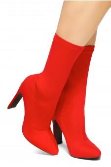 HerStyle Selene-Pointed toe, flat block heel, knit Lycra upper (Red)