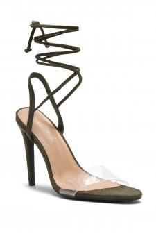 HerStyle Women's Manmade Senerra Suede Lucite Ankle-Tie Open Toe Stiletto Heel - Olive