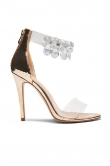 HerStyle Senillia Jewel Gem Embellished Perspex Heel in Rose Gold Faux Leather (Clear Rose Gold)