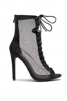 HerStyle Sesseey Lace up mesh stiletto heels ankle boots (Black)