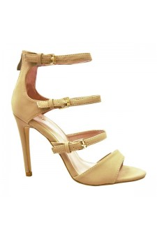 Women's Beige Sgiselle 4-inch Heeled Sandal with Triple Buckle Strap