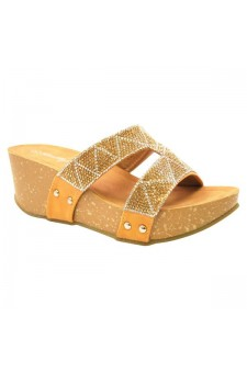 Women's Tan Shaanne 3-inch Crystal Coated Wedge Sandal