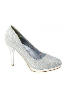 Women's Silver Manmade Shayllaa 4.5-inch Ornamented Pump Heel with Rhinestone Sheen