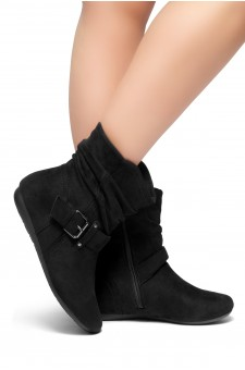 Women's Black Shearlly Faux Suede Buckled up booties--[Runs Small, Order One Size Bigger]