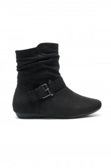 Women's Black Shearlly Faux Suede Buckled up booties