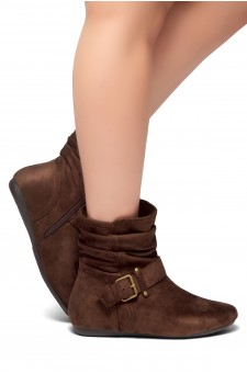 Women's Brown Shearlly Faux Suede Buckled up booties