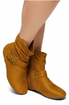 Women's Cognac Shearlly Faux Suede Buckled up booties-- [Runs Small, Order One Size Bigger]