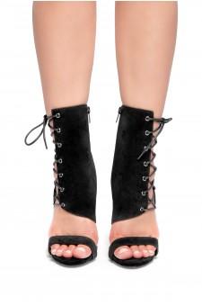 HerStyle Sheri Stiletto heel, side lace-up (Black)