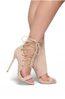 HerStyle Sheri Stiletto heel, side lace-up (Nude)