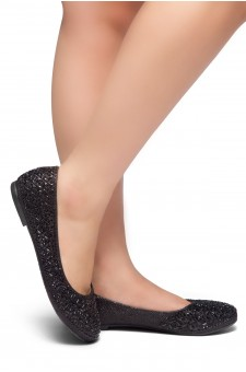 HerStyle Shine Bright-Round toe, jeweled embellishments (Black)