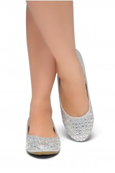HerStyle Shine Bright-Round toe, jeweled embellishments (Silver)