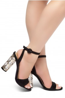 HerStyle Shine Factor-Perspex cylinder heel, Open Toe, Ankle Strap Sandals (Black)