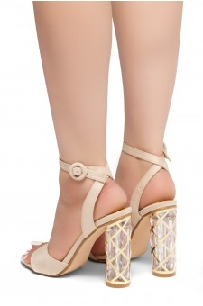 HerStyle Shine Factor-Perspex cylinder heel, Open Toe, Ankle Strap Sandals (Nude)