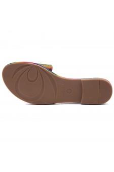 Herstyle Showstopper Women's Rhinestone Open Toe Flat Sandals Glitter Slides Slip on Shoes(2012Rainbow)