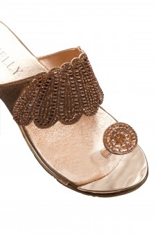 HerStyle SHOWSTOPPER- Toe Ring with blink blink jeweled embellishment vamp, open toe sandals (RoseGold)