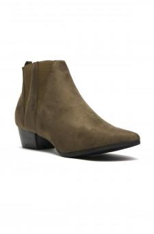 Women's Skyllar Faux Suede Pointy Toe Western Booties - Olive