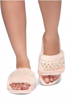 HerStyle SL-030317-Faux fur with pearls-(Pink)