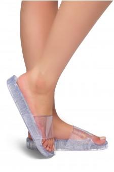HerStyle SL-050117-Glitz Jelly Slide Sandal (Clear)
