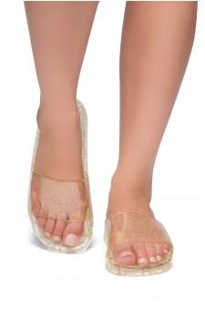 HerStyle SL-050117-Glitz Jelly Slide Sandal (Gold)