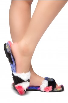 HerStyle SL-050317-Faux fur Sandals (Multi)