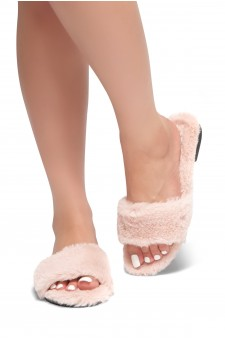 HerStyle SL-050317-Faux fur Sandals (Pink)