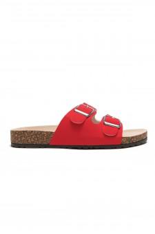 HerStyle SL-110115 Open Toe Buckled Cork Slide Sandal (Fuchsia)