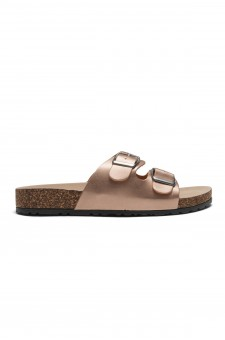 HerStyle SL-110115 Open Toe Buckled Cork Slide Sandal (Rose Gold)