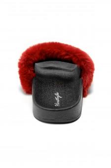 Herstyle Women's SL-160801 Faux Fur Slide Sandal(Burgundy)