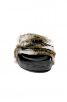 Herstyle Women's SL-160801 Faux Fur Slide Sandal(Camouflag)