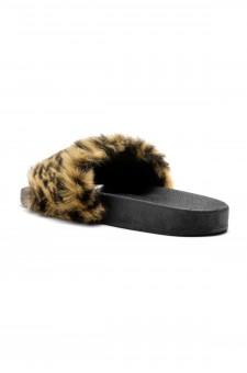 Herstyle Women's SL-160801 Faux Fur Slide Sandal(Leopard)