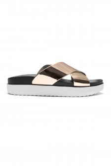 HerStyle SL-161101010 Metallic Cross Band platform Wedge Sandal (RoseGold)
