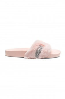 HerStyle SL-16110101 Faux Fur Slide Sandal with Rhinestone Accent (Pink)