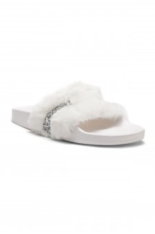 HerStyle SL-16110101 Faux Fur Slide Sandal with Rhinestone Accent (White)